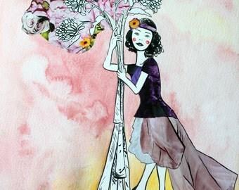 Through Ambition - Original Mixed Media Illustration
