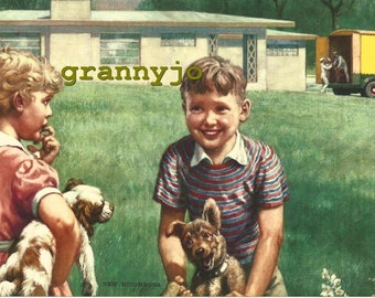 1940's  Calendar Art Lithograph, titled, NEW NEIGHBORS, published by South,  #443