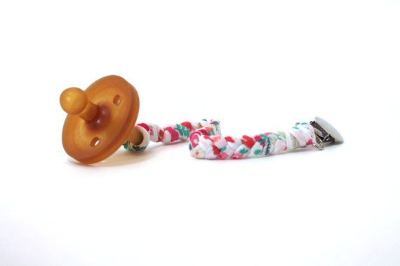 Braided Pacifier Clip / WHITE FLORAL Braided Pacifier Clip / soothie / binky clip / pacifier holder
