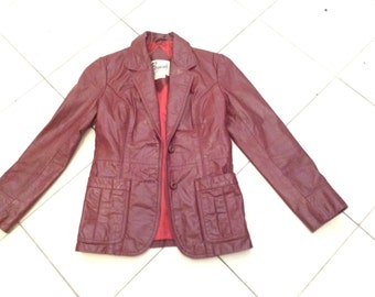 Vintage 70s Fitted Burgundy Brown Leather Jacket Coat BERMANS Sz S M US 4 6 Aus 8 10