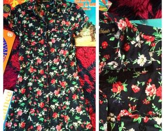 Black floral dress xs