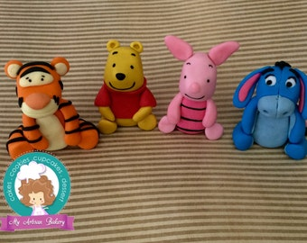 Winnie the  Pooh and friends inspired fondant cake topper