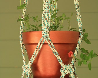 Turquoise, White and Brown Macrame Plant Hanger with Turquoise Wooden Beads