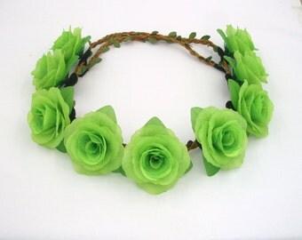 Green Flower Crown,Green Rose Headband,Green Flower Headband,Green Rose Crown,Girls,Women,Adult,Festival Crown,Halo,Wreath Hair,Boho Crown