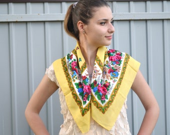 Yellow floral shawl, summer Scarf ,light yellow shawl, beautiful Shawl, head scarf, Babushka Russian, CIJ gift under 20