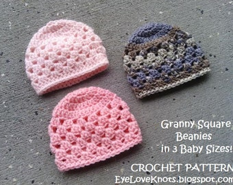 CROCHET PATTERN - Granny Square Baby Beanie Crochet Pattern in 3 Baby Sizes - Granny Square Baby Hat Crochet Pattern - Permission to Sell...