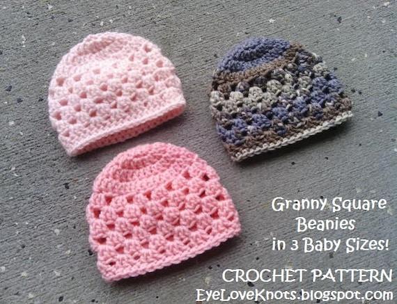 Crochet Granny Square Hat Pattern Free : CROCHET PATTERN Granny Square Baby Beanie Crochet Pattern in