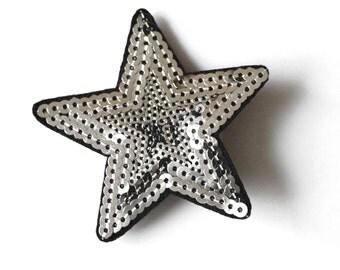 Silver sequin star, Star silver hair clip, silver  star hair clip, Christmas silver star, silver hair star