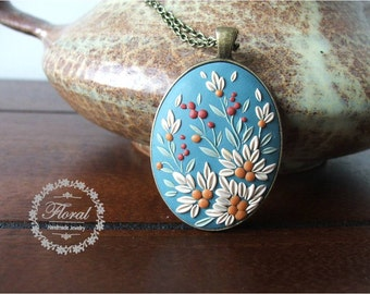 Romantic Wife Gift- Turquoise Necklace- Floral Jewelry- Boho Romantic Gift from Husband- Romantic Pendant Necklace