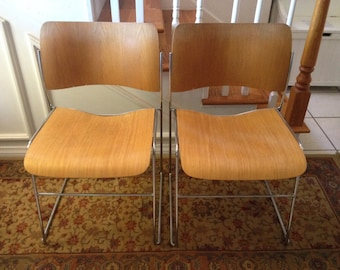 Vintage David Roland 40/4 Wood Modern Mid Century Chrome Stacking Chairs
