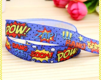 Pow Zap Boom Wham Superhero 5/8inch 16mm FOE Elastic for hair ties and headbands By The Yard Pow Zap
