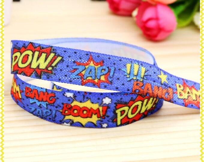 Pow Zap Boom Wham Superhero 5/8inch 16mm FOE Elastic for hair ties and headbands By The Yard Pow Zap