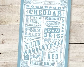 The Cheesecloth Blue & White 100% Cotton screen printed tea towel.