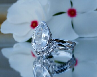 White Sapphire Engagement Ring, Sapphire Ring, Bridal Set, 14kt, Sapphire Wedding Band, In stock