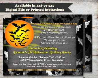 Bats Halloween Invitation, Haunted Halloween Invitation, Costume Party Invitation, Halloween Birthday Invitation, Digital File or Printed