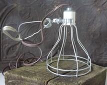 Vintage Industrial  Lighting Wire Cage Clamp Light Leviton Porcelain Socket Metal Clamp Light Fixture Trouble Light Office Design