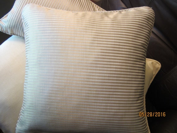 Decorator fabric by Robert Allen in gold and ivory pinstriped throw pillows, 2 sizes