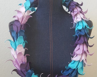 Purple and Teal Origami Lei