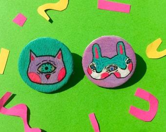 Creepy Creatures Pin Pack: Mitosis Bunny and Cyclops Cat