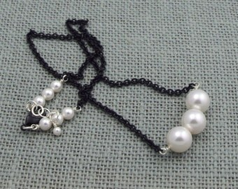 Ivory Swarovski Pearls + Black Chain Necklace