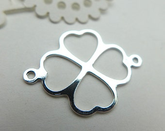 925 Sterling Silver Spacer 16x21mm  Clover connector 1pcs