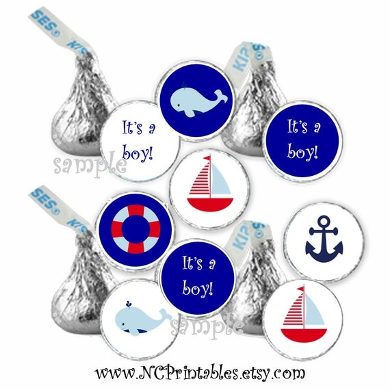 Nautical sailboat lighthouse Baby boy shower favors gift  candy stickers (108)