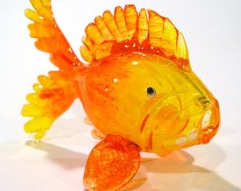 Bubbly Large Orange Gold Blown Fish