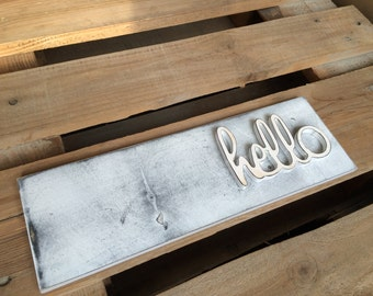 Front Door Hello Sign wall sign for Entryway Wooden Sign Hello