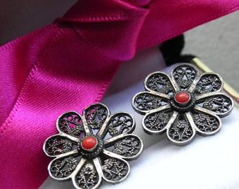 silver filigree earrings \ flower posts \ red stones