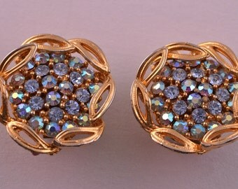Gilt 1950's Vintage Clip On Earrings With Rhinestones