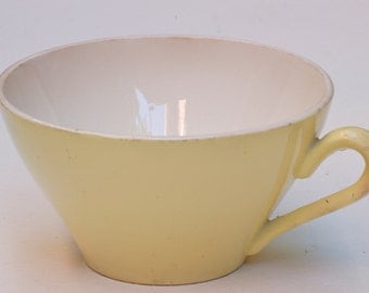 Tasse à café Digoin jaune French vintage cafe au lait  bowl ,bol cafe au lait, shabby chic, brocante française