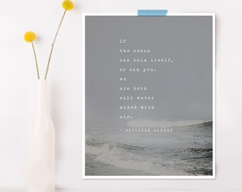 Nayyirah Waheed poetry quote, if the ocean can calm itself meditation, yoga art, poem print, ocean art, wall decor, meditation quote