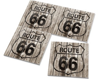 4pcs Route 66 California Dining Bar Drink Ceramic Coasters Set