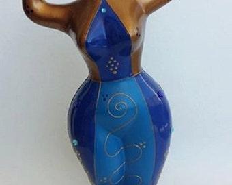 """Statue in style Nana by Niki de Saint Phalle, Model """"Saphira"""" decoration by Laure Terrier, UNIQUE PIECE !"""