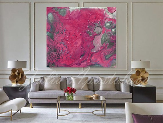 Pink Abstract Canvas Art: 50inch Pink Print Abstract Art Canvas Modern Art Pink And