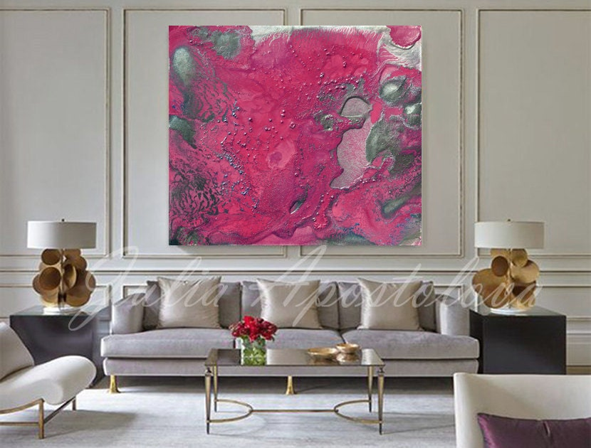 50inch Pink Print Abstract Art Canvas Modern Art Pink And