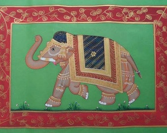 Indian Elephant Silk Painting