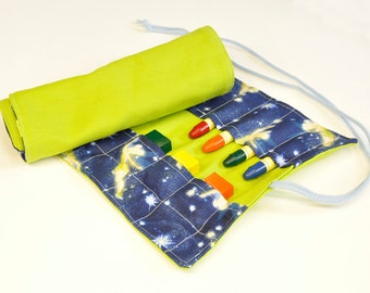 Crayonroll for girls, Tinkerbell, colors lime, for 14 beeswaxblocks and 12 beeswax pins