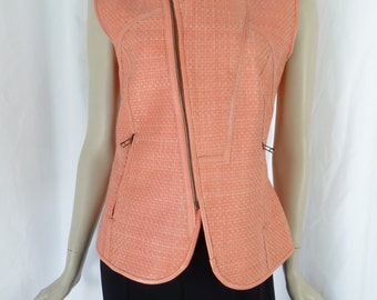 BAGATELLE  leather asymmetric zip moto vest/ coral pink basket weave/ hourglass fitted/deadstock: size Medium