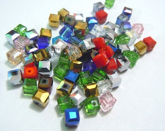 100pcs Mixcolor 6mm Square Cube Crystal Beads,Loose Jewelry Spacer Faceted Beads 19 Color Pick