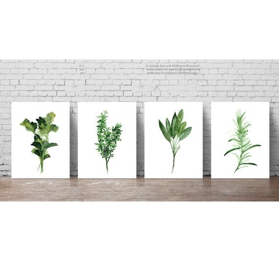 Herb Prints Kitchen Wall Decor Set 4 Herbs Green Home Garden