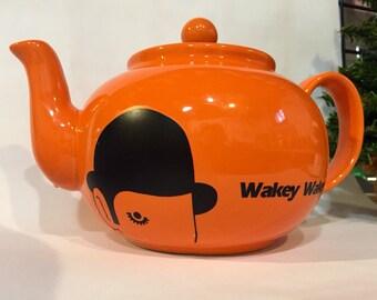Clockwork Orange inspired 8 cup teapot, morning rehabilitation, orange earthenware, wakey wakey, kubrick, cinema, tea lover