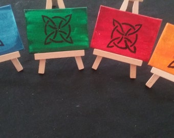 Mini Celtic Knot Paintings, Set of 4 Mini Paintings, 2.5x3.5 Inch Art, Home or Office Decor, Celtic Knot Art, With or Without Easles