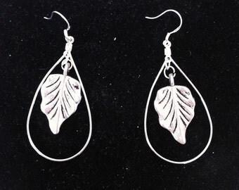 Leaf and Hoop Earrings, Ready to Ship, Earrings with Leaves, Hoop Earrings, Nickle Free Earrings, Silver Plated