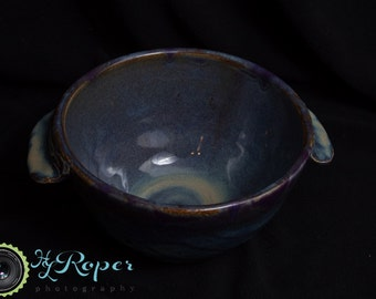 Blue Handmade Stoneware Bowl with handles/Army Veteran/Wheel Thrown