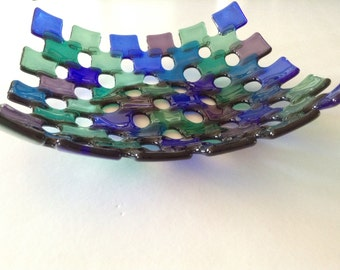FREE SHIPPING - Colorful Fused Glass Bowl