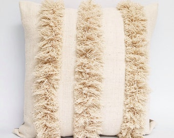 Authentic African Mudcloth Textile And Natural Cotton Fringe Pillow Cover 20x20