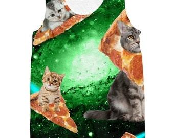 Cat Pizza Green Galaxy Tank top