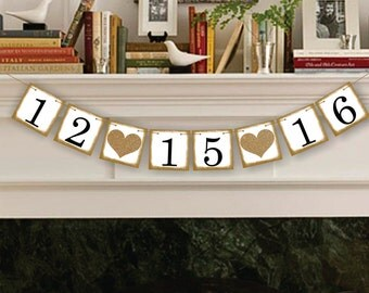 Save The Date Banner - Photo Props Sign - Bridal Shower Decor Garland