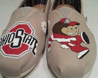 The Ohio State University  Buckeyes hand painted Canvas shoes - (available in Toms)